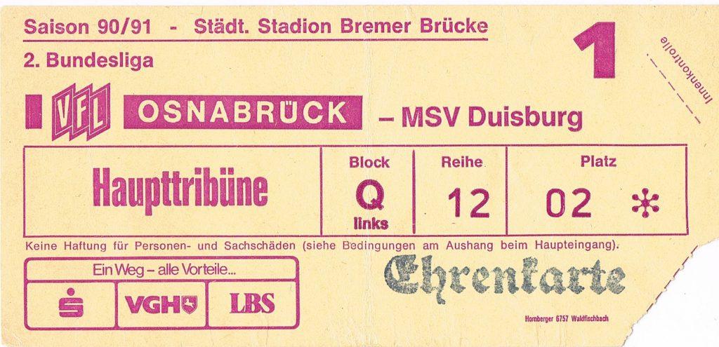 Eintrittskarte VfL Osnabrück