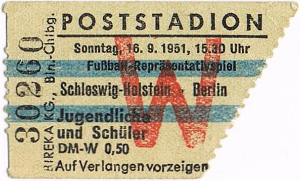 Eintrittskarte Poststadion Berlin