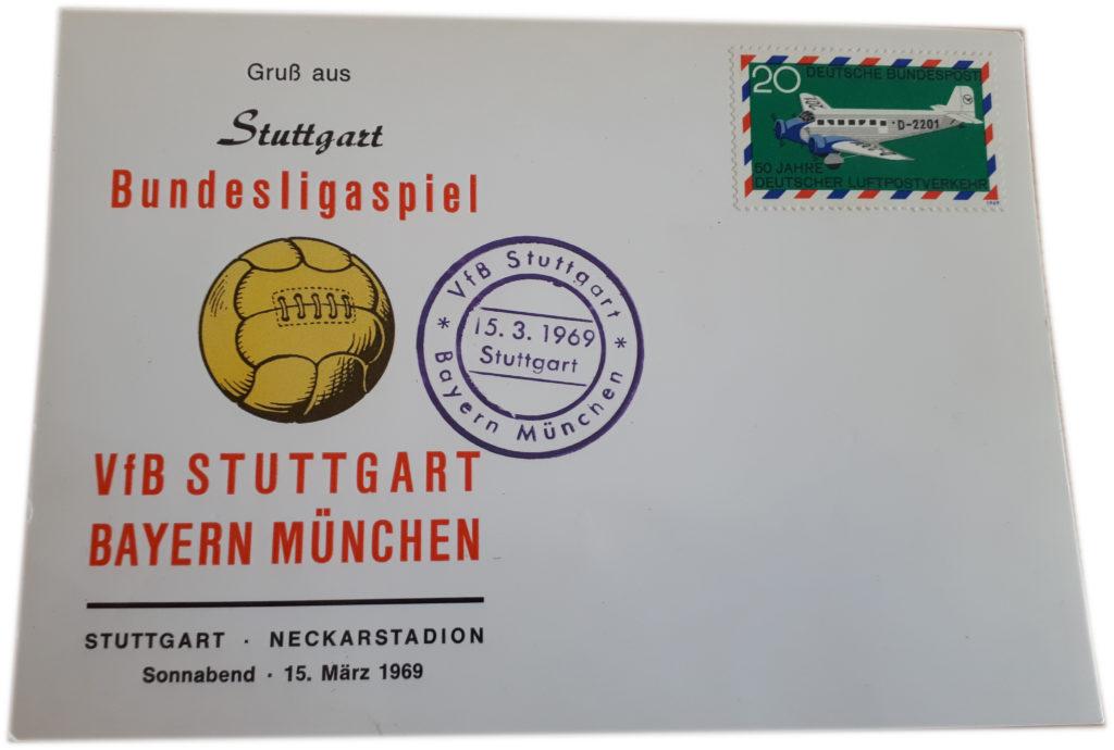Postkarte zum Bundesliga-Spiel VfB Stuttgart gegen Bayern München aus dem Jahr 1969
